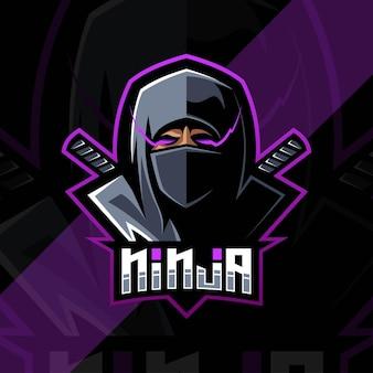 Head ninja mascot logo esport design