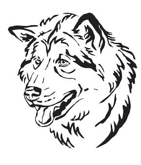Голова собаки аляскинского маламута. вектор монохромный изолированных иллюстрация на белом фоне