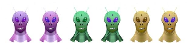 Голова пришельцев разного цвета