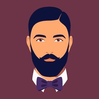 蝶ネクタイをしたひげを生やした男の頭。ひげを生やした黒髪の男の肖像画。ソーシャルネットワークのためのスタイリッシュなdendyのアバター。抽象的な男性の肖像画、フルフェイス。フラットスタイルのイラスト