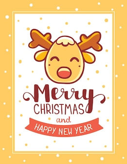 テキストメリークリスマスとクリスマストナカイの頭