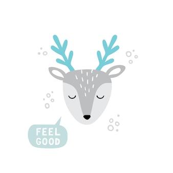 손으로 그린 스타일의 귀여운 사슴 머리