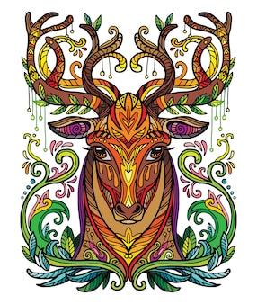 Голова оленя взрослого антистрессового раскраски страницы. векторная иллюстрация.