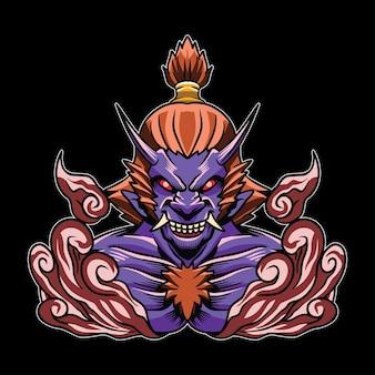 日本の鬼イラストの頭