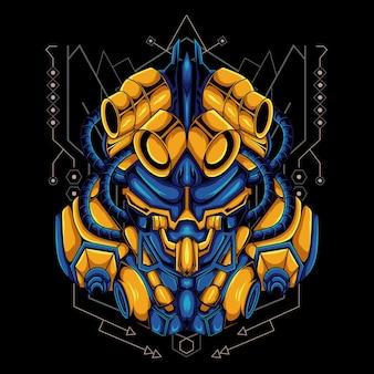 Глава механического робота-монстра инопланетного искусства иллюстрации