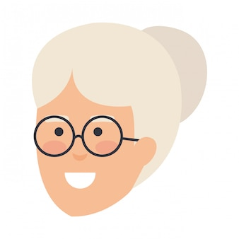 Head old woman with glasses avatar character
