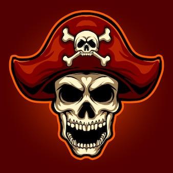 頭の海賊の頭蓋骨のマスコットイラスト