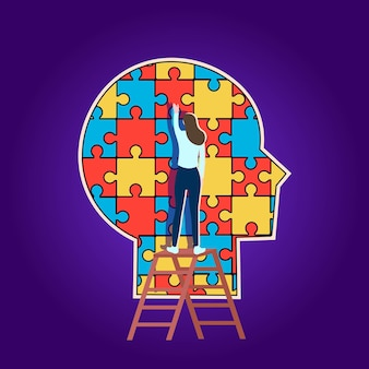 Head profile is made of puzzle pieces. concept of psychological  help. vector.