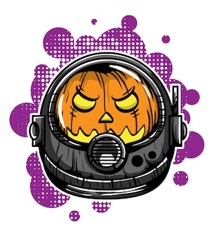 Head of pumpkin astronaut vector illustration