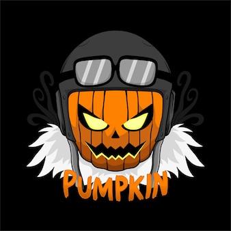 Head pumpkin ilustration design for tshirt