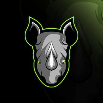 Head rhino mascot logo e-sport design