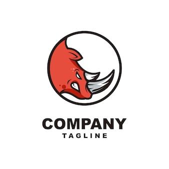 Head rhino mascot logo