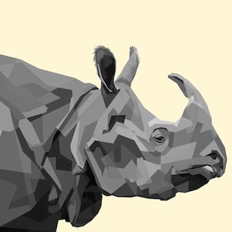 Head rhino on polygonal geometric triangle style