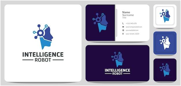 ヘッドロボットロゴデザインベクトルインテリジェンス脳回路デジタ