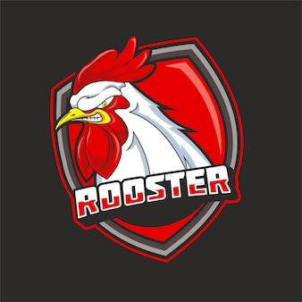 Head rooster e sport logo template