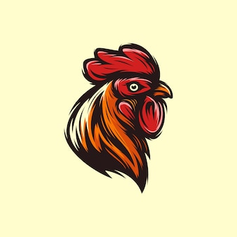 Head rooster logo template vector