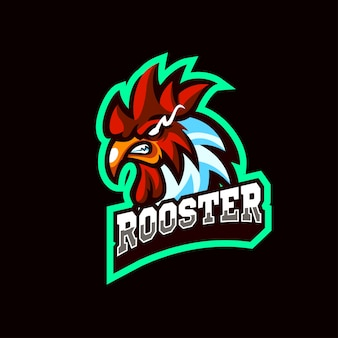 Head rooster mascots logo