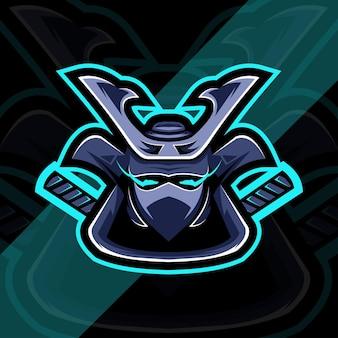 Head samurai mascot logo esport design