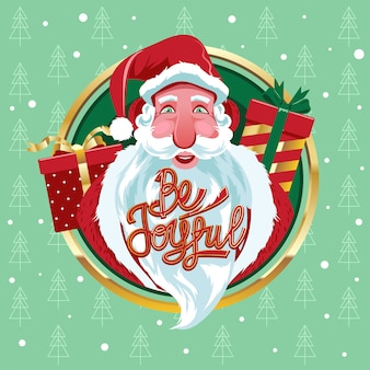 Head of santa claus close-up view with gifts sack background and quote be joyful