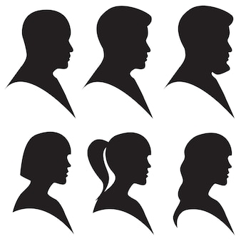 Head silhouette of man and woman