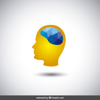 Head silhouette with polygonal brain Free Vector