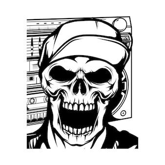 Head skeleton wearing cap hand drawing illustration