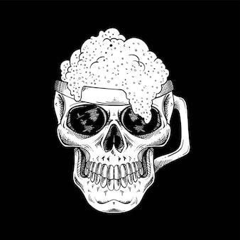 Голова череп пиво стакан крест штриховки линейный стиль
