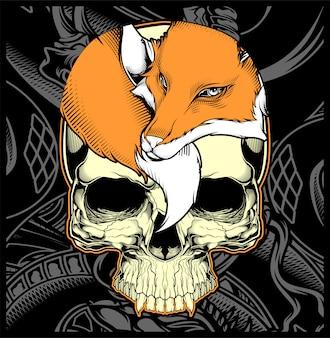 Head skull and fox