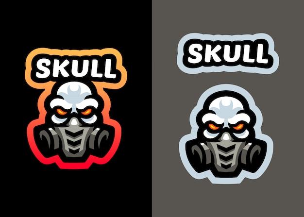 스포츠와 esports 로고 디자인을위한 맨 위 두개골 방독면 마스코트 로고