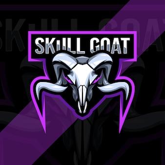 Голова черепа козла талисман логотип дизайн шаблона киберспорта