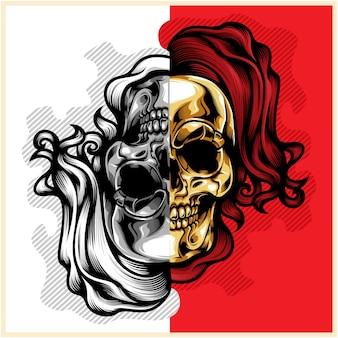 Head skull gold silver combination vector