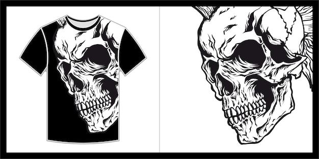 Head skull illustration for t shirt design