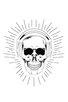Head skull monochrome wearing headphone