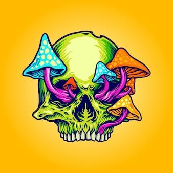 Голова черепа грибы иллюстрации,