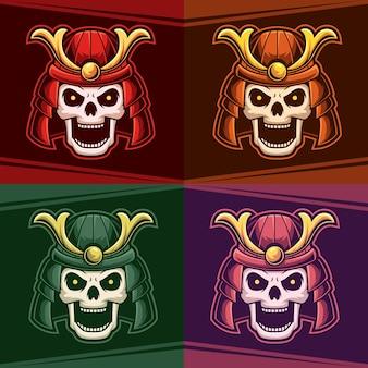 Голова череп ронин набор цветной талисман киберспорт логотип векторные иллюстрации