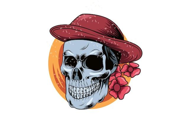 Голова череп летом в шляпе рука рисунок вектор