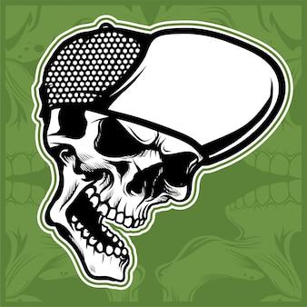 Head skull wearing cap hand drawing