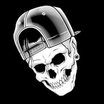 Head skull wearing cap