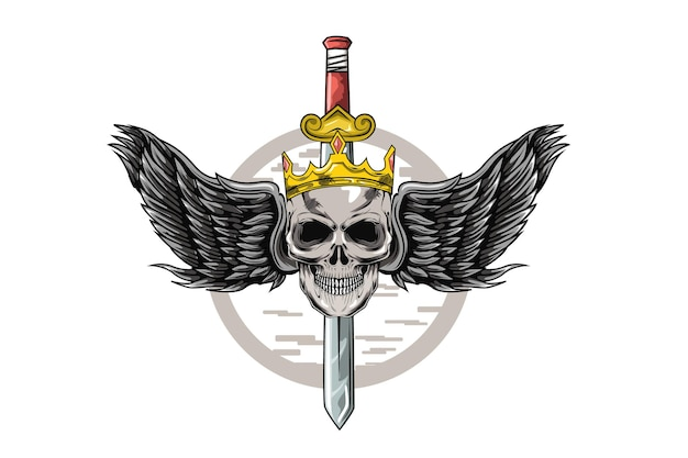 王冠と剣の手描きイラストを身に着けている頭蓋骨