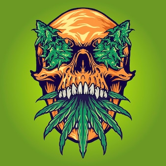 Head skull weed kush vector illustrations for your work logo, mascot merchandise t-shirt, stickers and label designs, poster, greeting cards advertising business company or brands.