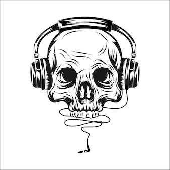Head skull with ear phone vector illustration