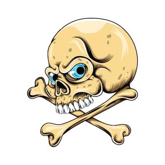파란 눈을 가진 머리 두개골과 뼈 위의 큰 이빨이 교차