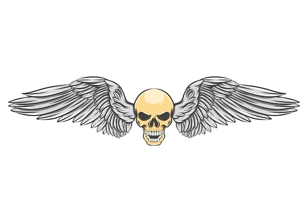 Голова череп с лихими крыльями