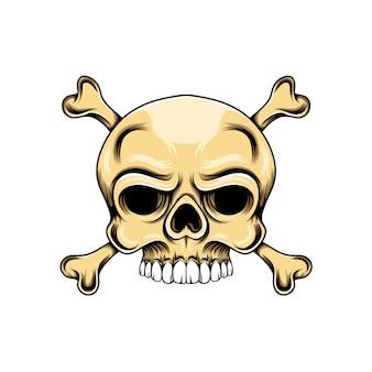 두 개의 뼈가 아래에 교차 된 느슨한 눈을 가진 머리 두개골
