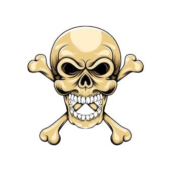 두 개의 뼈가 머리 아래에 교차하는 머리 두개골