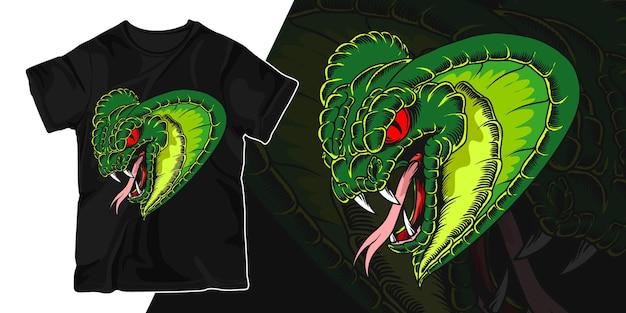Дизайн футболки с изображением головы змеи