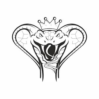 Голова змеи кобра в короне, изолированные на белом фоне