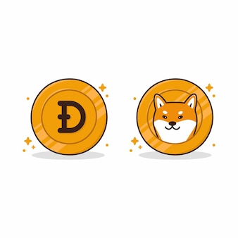 Head and tail coin with character shiba inu dog
