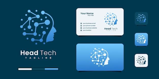 Head tech logo, robotic technology logo design template. profile people logo inspiration.