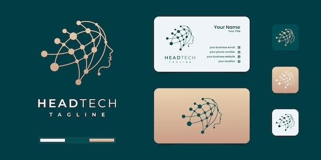 헤드 기술 로고, 로봇 기술 로고 템플릿 디자인 그림. 기술 로고는 회사에 사용됩니다.